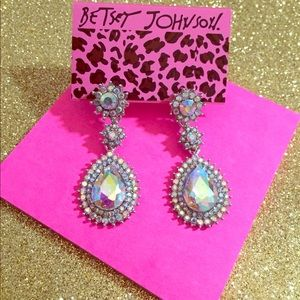 Betsey Johnson Iridescent Teardrop Earrings